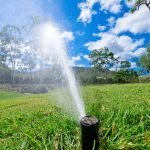 In ground sprinkler irrigation spraying water over lawn with trees in background